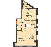 2 комнатная квартира 78,47 м² в ЖК Дом на Провиантской, дом № 12 - планировка