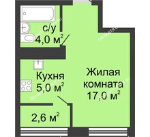 Студия 28,6 м² в ЖК Цветы, дом № 11 - планировка