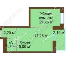 1 комнатная квартира 27,36 м² в ЖК На Гончарова, дом № 3-1 - планировка
