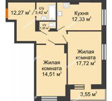 2 комнатная квартира 65,1 м² в ЖК Виктория, дом № 52 - планировка