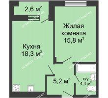 1 комнатная квартира 45 м² в ЖК Октава, дом №4 - планировка
