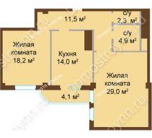 2 комнатная квартира 79,9 м², ЖК Бояр Палас - планировка