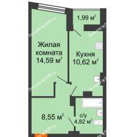 1 комнатная квартира 39,58 м² в ЖК Рубин, дом Литер 2 - планировка