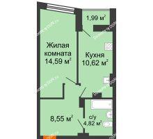 1 комнатная квартира 39,75 м² в ЖК Рубин, дом Литер 3 - планировка