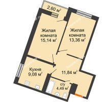 2 комнатная квартира 54,69 м² в ЖК Журавли, дом №2 - планировка