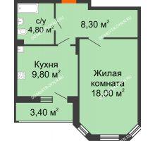 1 комнатная квартира 42,6 м² в ЖК Цветы, дом № 6-2 - планировка