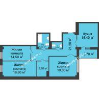 3 комнатная квартира 107,1 м², ЖК Нахичевань - планировка