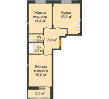 2 комнатная квартира 50,9 м² в ЖК Новая Кузнечиха, дом № 32 - планировка