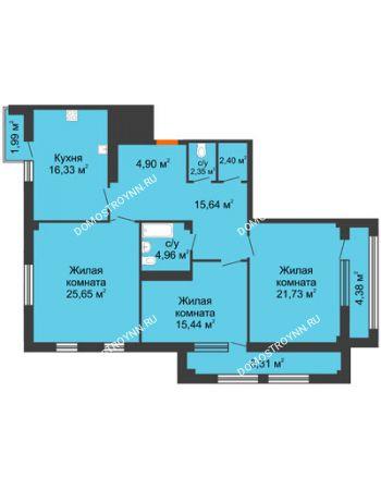 3 комнатная квартира 119,4 м² в ЖК Renaissance (Ренессанс), дом № 1