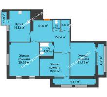 3 комнатная квартира 115,34 м² в ЖК Renaissance (Ренессанс), дом № 1 - планировка