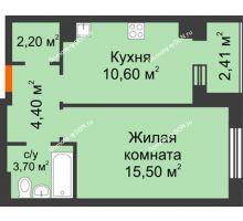 1 комнатная квартира 37,5 м² в Микрорайон Прибрежный, дом № 8 - планировка