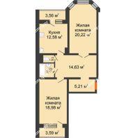 2 комнатная квартира 79,65 м², Жилой дом: №23 в мкр. Победа - планировка