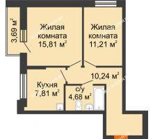 2 комнатная квартира 51,6 м², Жилой дом: ул. Сухопутная - планировка