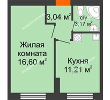 1 комнатная квартира 34,3 м² - ЖК Янтарный