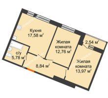 2 комнатная квартира 61,47 м² в ЖК Книги, дом № 1 - планировка