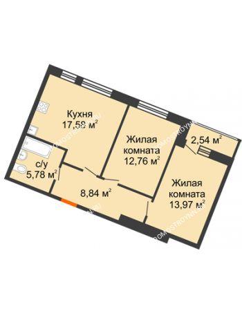 2 комнатная квартира 61,47 м² в ЖК Книги, дом № 2