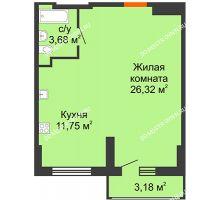 Студия 43,34 м², ЖК Орбита - планировка