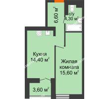 1 комнатная квартира 42,7 м² в ЖК КМ Анкудиновский парк, дом № 16 - планировка
