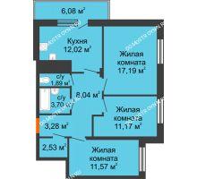 3 комнатная квартира 73,21 м² в ЖК Циолковский, дом № 6 - планировка