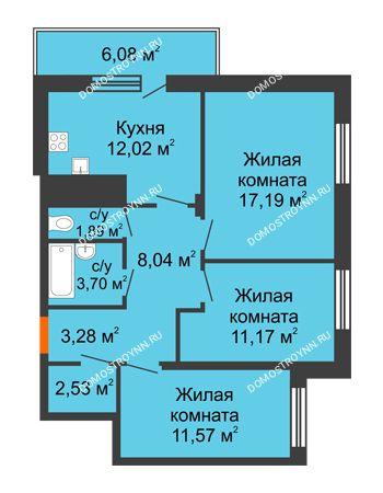 3 комнатная квартира 73,21 м² в ЖК Циолковский, дом № 6