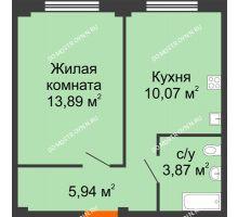 1 комнатная квартира 33,77 м² в ЖК Лайм, дом № 1