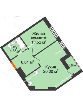 1 комнатная квартира 42,74 м² - ЖК Пушкин