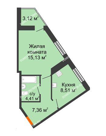 1 комнатная квартира 38,53 м² - ЖК Пушкин