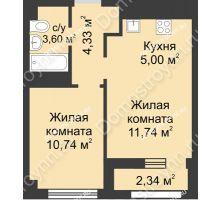 2 комнатная квартира 36,58 м² - Каскад на Сусловой
