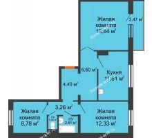 3 комнатная квартира 70,49 м² в ЖК Иннoкeнтьeвcкий, дом № 6 - планировка
