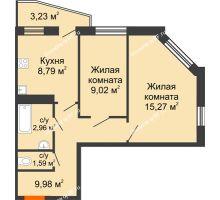 2 комнатная квартира 50,11 м², ЖК 9 Ярдов - планировка