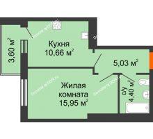 1 комнатная квартира 39,64 м² в ЖК Днепровская Роща, дом № 1 - планировка