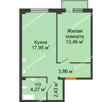 1 комнатная квартира 42,49 м² в ЖК Лайм, дом № 1
