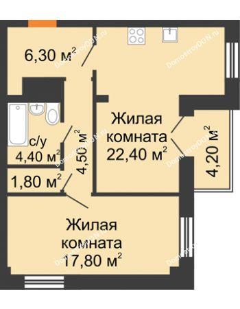 2 комнатная квартира 59,3 м² - ЖК Дом на 18-й Линии, 3