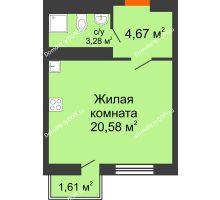 Студия 29,22 м² в ЖК Мечников, дом ул. Таврическая, 4 - планировка