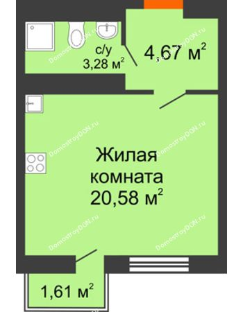 Студия 29,22 м² в ЖК Мечников, дом ул. Таврическая, 4