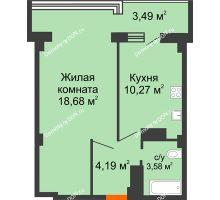 1 комнатная квартира 42,69 м² в ЖК Северный Остров, дом № 6 - планировка