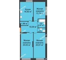 3 комнатная квартира 89,71 м² в ЖК Маленькая страна, дом № 4 - планировка