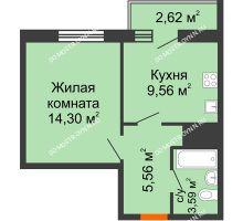 1 комнатная квартира 35,63 м² - ЖК Комарово