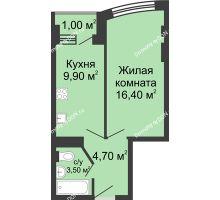 1 комнатная квартира 35,5 м² - ЖК Дом 35 Линия