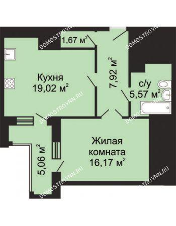 1 комнатная квартира 52,88 м² - ЖК Гелиос