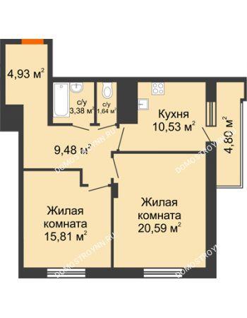 2 комнатная квартира 68,76 м² в ЖК Циолковский, дом № 6