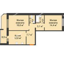 2 комнатная квартира 68,1 м² в ЖК Острова, дом 4 этап (второе пятно застройки) - планировка