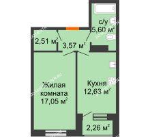 1 комнатная квартира 42,49 м² - Дом на Чаадаева