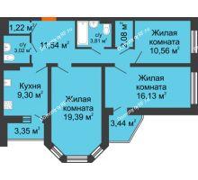 3 комнатная квартира 80,54 м², ЖК Инстеп. Звездный - планировка