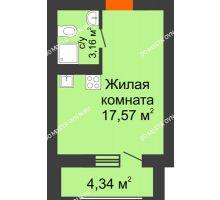 Студия 25,11 м² в ЖК Подкова на Гагарина, дом № 3А - планировка