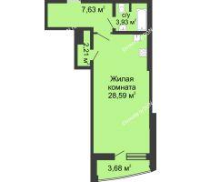 Студия 46,04 м² в ЖК Тихий Дон, дом № 2 - планировка